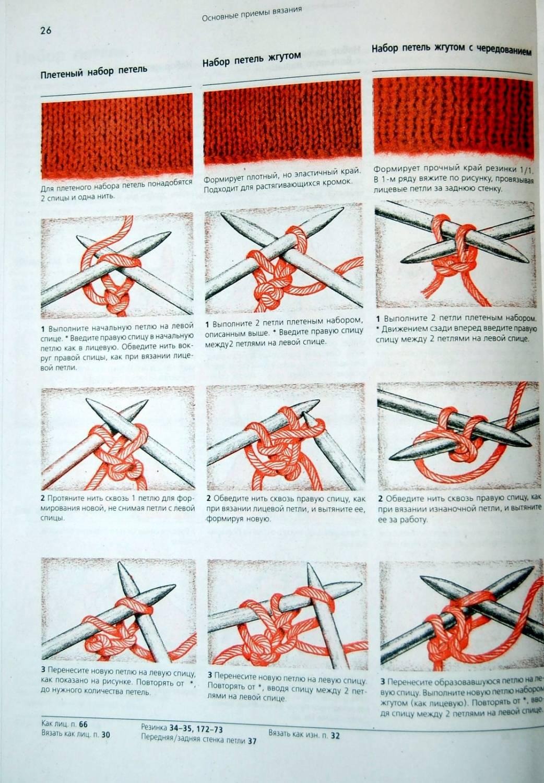Вязание спицами. итальянский набор петель на одну  48